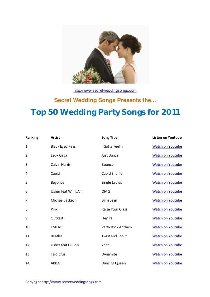Top 50 Wedding Songs