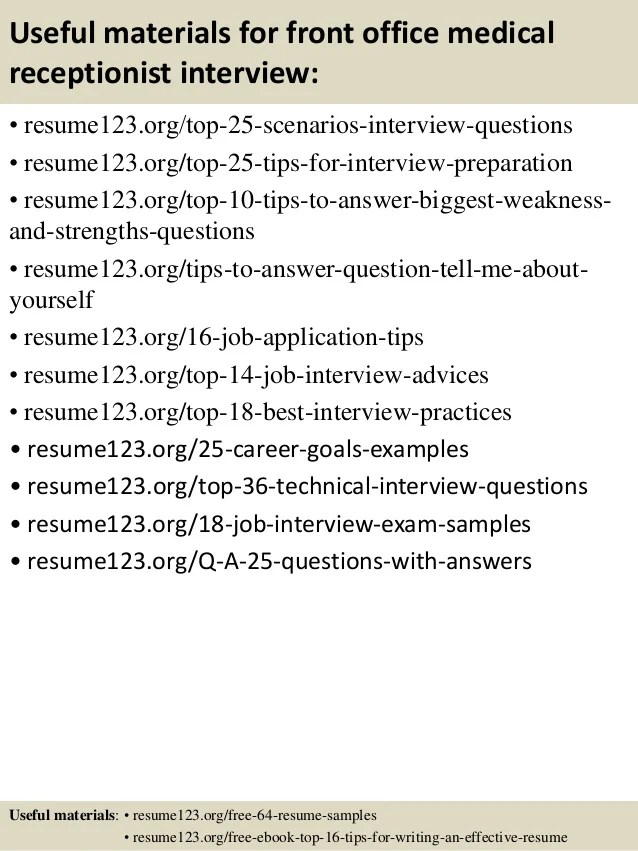 Top 8 Front Office Medical Receptionist Resume Samples