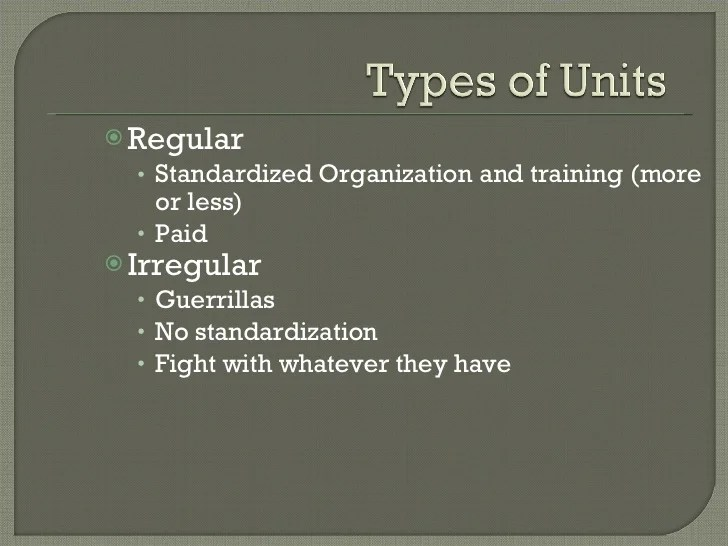 Types Army Units