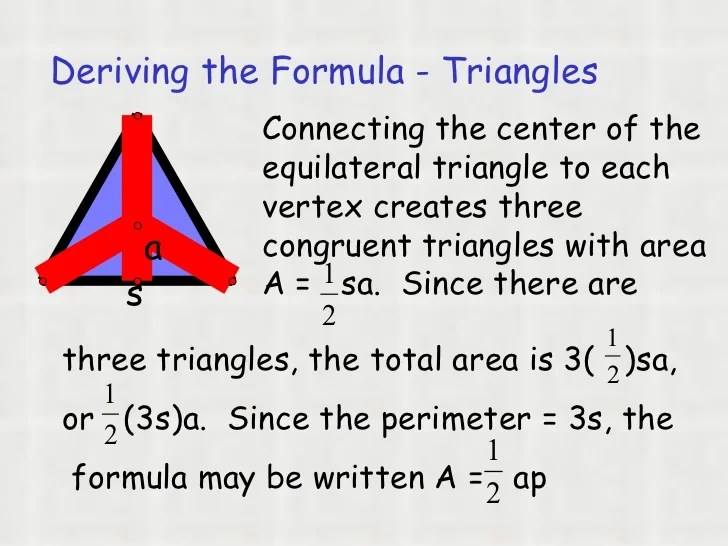 Regular Apothem Area Triangle