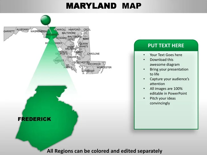 Usa Maryland State Powerpoint County Editable Ppt Maps And