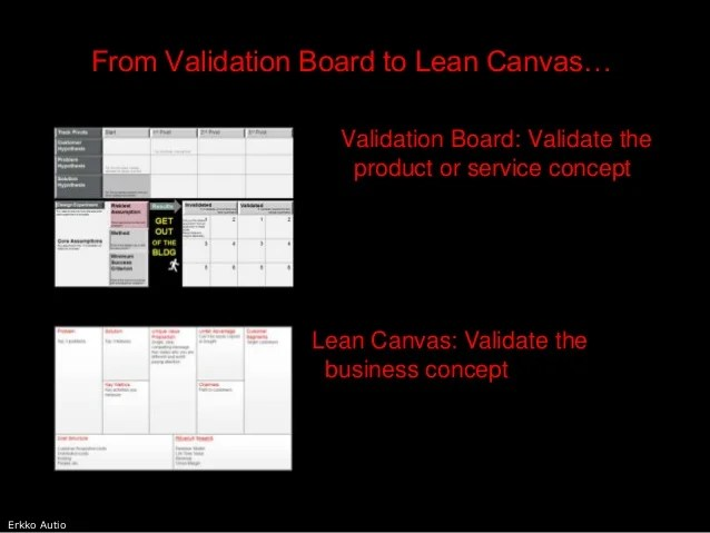 From Validation Board to Lean Canvas     delivers and captures value  13  Erkko Autio From Validation Board to Lean  Canvas