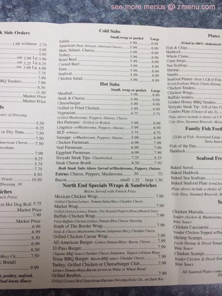 North End Market Brockton Menu