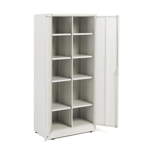 Büroschrank mit 8 einstellbaren Fachböden, 1800 x 800 x 500 mm, lichtgrau AJ Produkte Deutschland