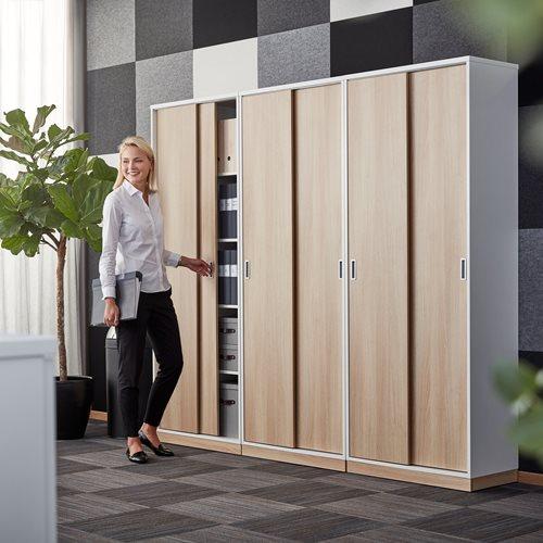 Modulus Schiebetürschrank, 2000 x 800 mm, weiß mit Türen Eiche AJ Produkte Österreich