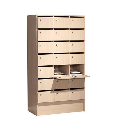 Post-/Schließfachschrank mit 21 Fächern, 1612 x 860 x 420 mm, Laminat Birke AJ Produkte