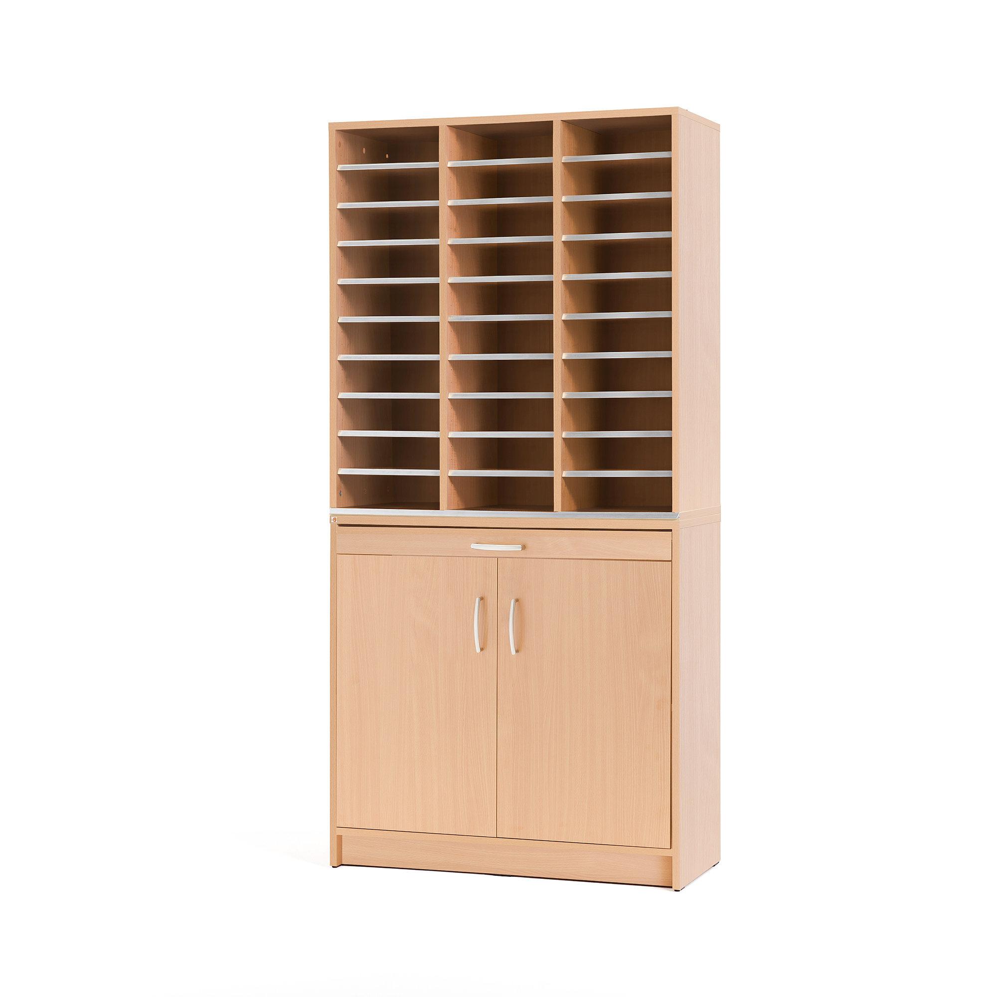 Postsortierkombi, 30 Fächer und Unterschrank mit Türen, Laminat Buche AJ Produkte Deutschland