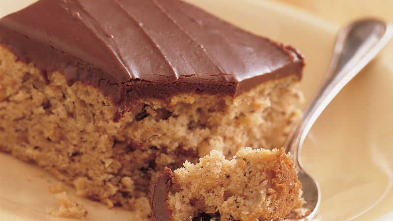 Banana Cake with Fudge Frosting Recipe   BettyCrocker com Banana Cake with Fudge Frosting