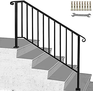 Happybuy Handrail Picket 4 Fits 4 Or 5 Steps Matte Black Stair | Metal Handrails For Outdoor Steps | Outside | Hand | Backyard | Wood | Contemporary