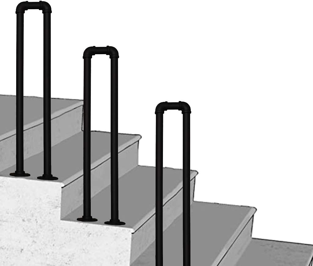 Amazon Com Handrail 1 Ft 3 Ft Wrought Iron Outdoor Steps Stair | Wrought Iron Steps Outdoor | Wood Interior | Current | Iron Handrail | Staircase | Backyard