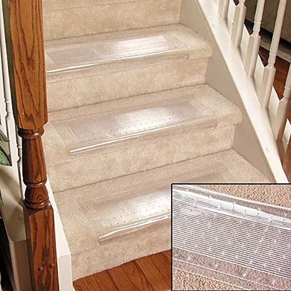 Clear Stair Treads Carpet Protectors Set Of 2 Staircase Step | Fitting Carpet To Open Tread Stairs | Landing | Floating Staircase | Stairway | Hardwood | Prefinished Stair