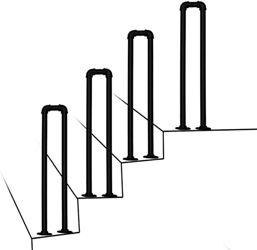 Amazon Com Transitional Handrail For Cement Concrete Steps And | Railings For Outside Steps | Inexpensive Exterior Hand | Hand | Custom | Vinyl | 5 Step