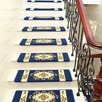 Amazon Com 15 Pcs Adhesive Rug Stair Treads Carpet Non Slip | Carpet Rugs For Stairs | Navy Blue | Beige | Tartan | Wool | Diamond Pattern