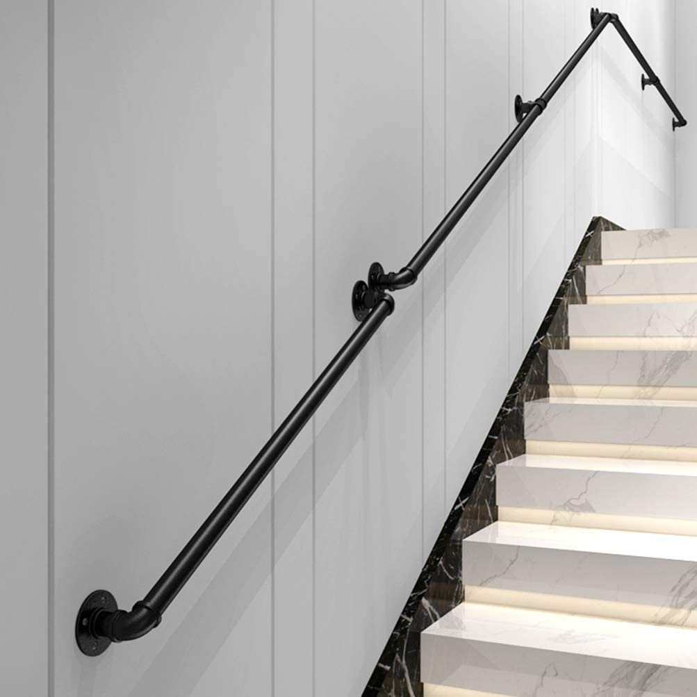 Amazon Com Handrail Stair Industrial Metal Pipe Railings Indoor | New Handrail For Stairs | Traditional | Wall Both Side | Contemporary | Mission Style | Wrought Iron