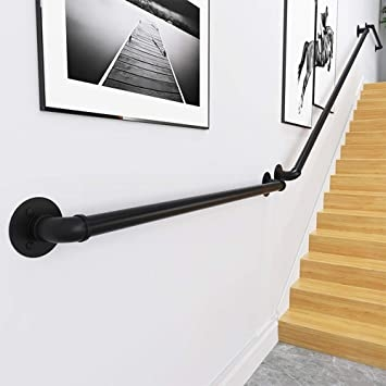 Wall Handrail 5Ft Section For Stairs Steps Dark Iron Easy Install | Handrails For Steps Indoors | Staircase Around Lift Wall | Glass Panel Stainless Steel Handrail | Narrow Staircase Brushed Nickel | Width Hand | Minimalist