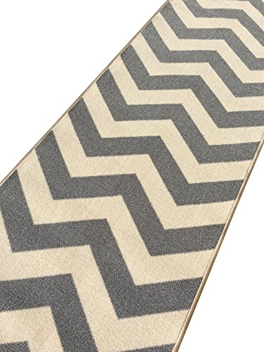 Custom Size Grey Chevron Zig Zag Rubber Backed Non Slip Hallway | Zig Zag Carpet On Stairs | Mohawk Patterned Carpet | Stair Triangular Landing | Before And After | American Style | Silver Grey
