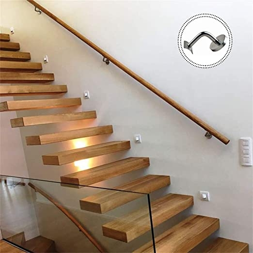 Amazon Com Round Staircase Handrail With Stainless Steel Brackets   Wall Mounted Handrail For Stairs   Stair Interior   Brushed Nickel   Thin Glass   Attached Wall   Mounting