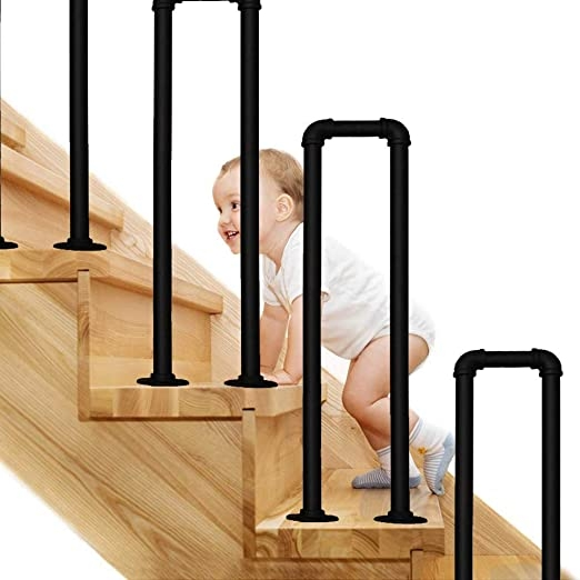 Amazon Com Cmmc U Shaped Wrought Iron Handrail Step Matte Black   Black Pipe Stair Railing   Diy   90 Degree Stair   Banister   Outdoor Stair   Stainless Steel