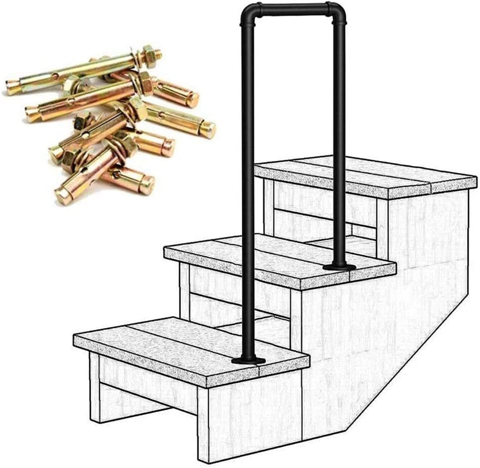 Amazon Com Lanna Shop Handrails For Outdoor Steps Matte Black | Exterior Handrails For Steps | Cast Iron | 3 Step | Brushed Nickel | Front Step Railing Pipe | Garden