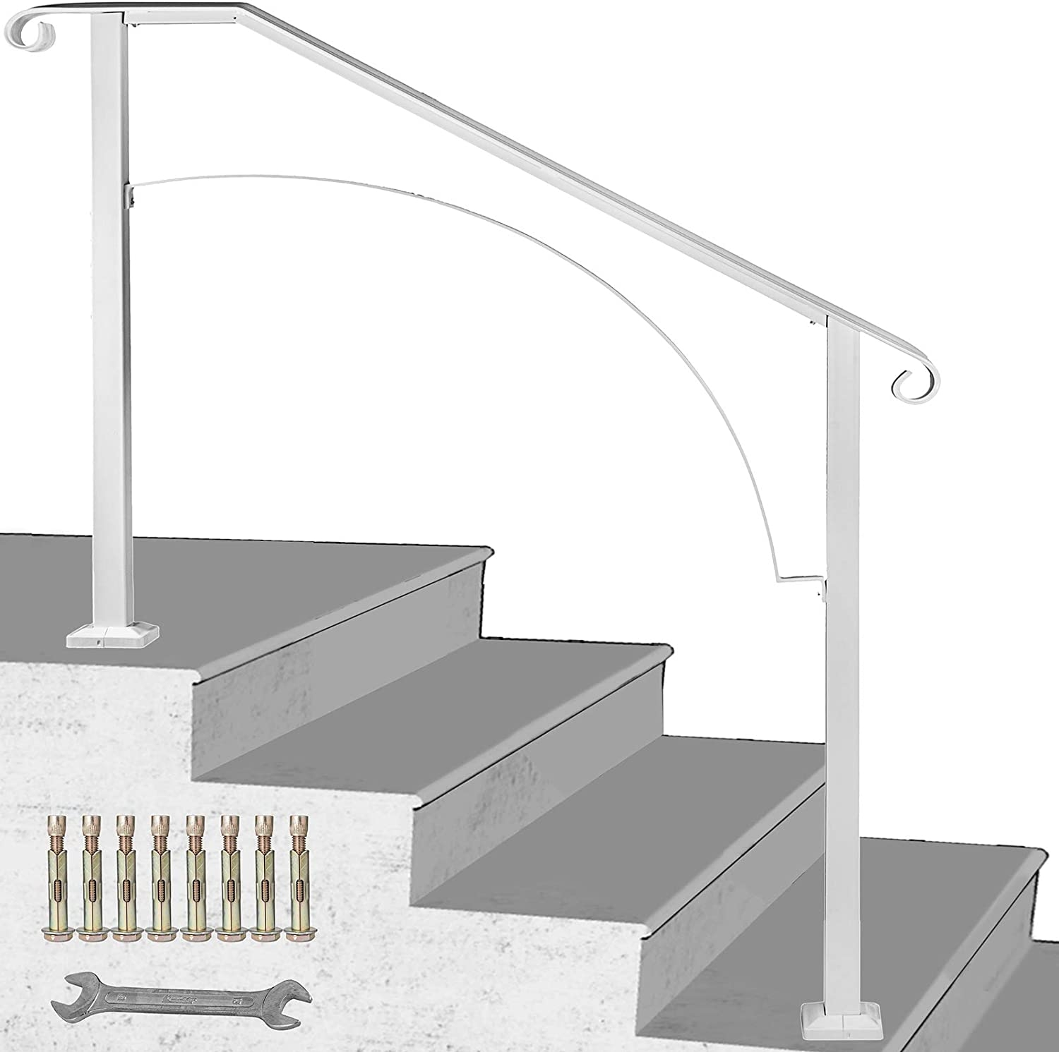 Happybuy Handrail Arch 3 Fits 3 Or 4 Steps Matte White Stair Rail | Black And White Stair Railing | Wall | Wrought Iron | Handrail | Victorian | Contemporary