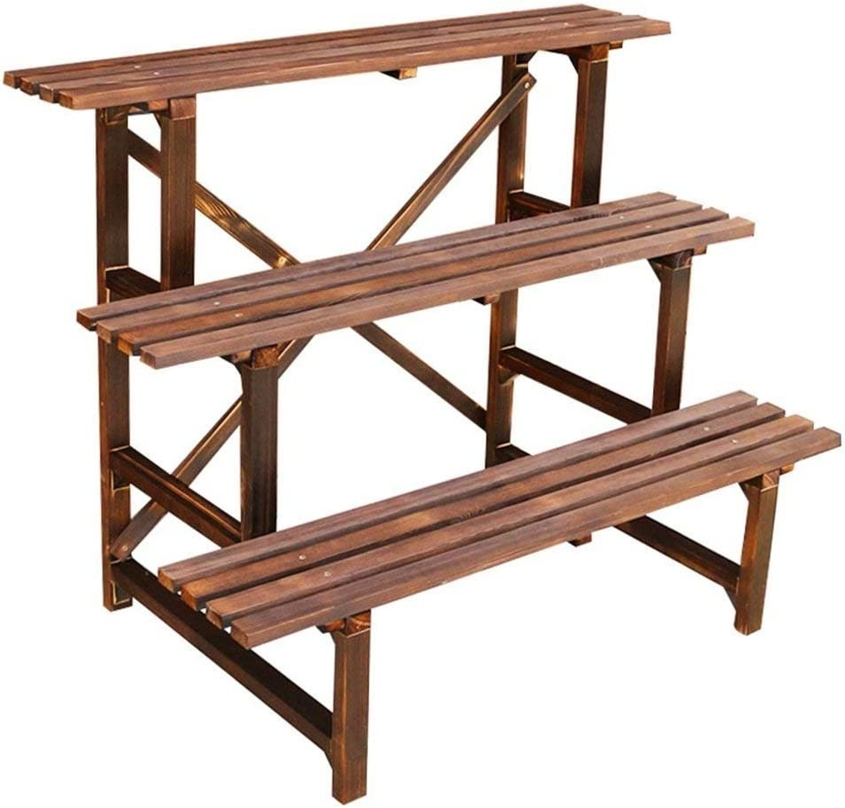 Amazon Com 3 Tier Flower Shelf Wood For Outdoor 3 Steps Plant | 3 Step Outdoor Stairs | Diy | Portable | Entrance | Wide | Curved Front Porch