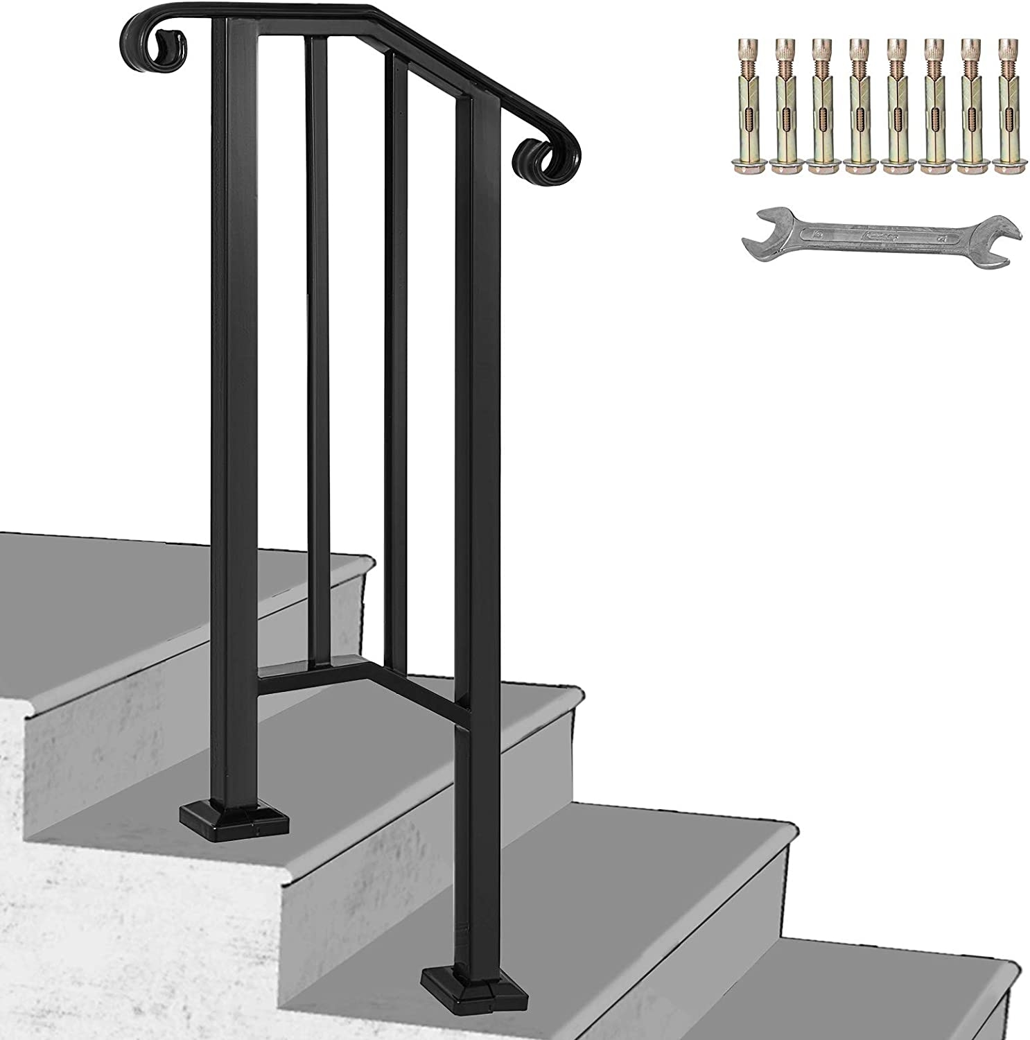 Happybuy Handrail Picket 1 Fits 1 Or 2 Steps Matte Black Stair | Exterior Iron Stair Railing | Temporary | Front Step | Aluminum | Front Entrance | Fancy
