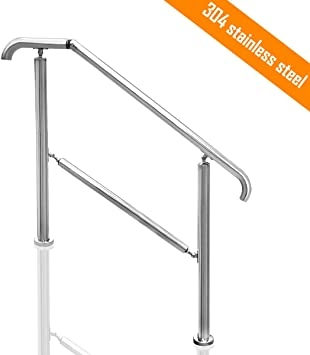 Transitional Handrail Stainless Steel Fits Level Surface And 1To 5 | Exterior Stainless Steel Handrail | Adjustable Exterior Metal | Modular Steel | Porch | Steel Usa | Wall Mounted