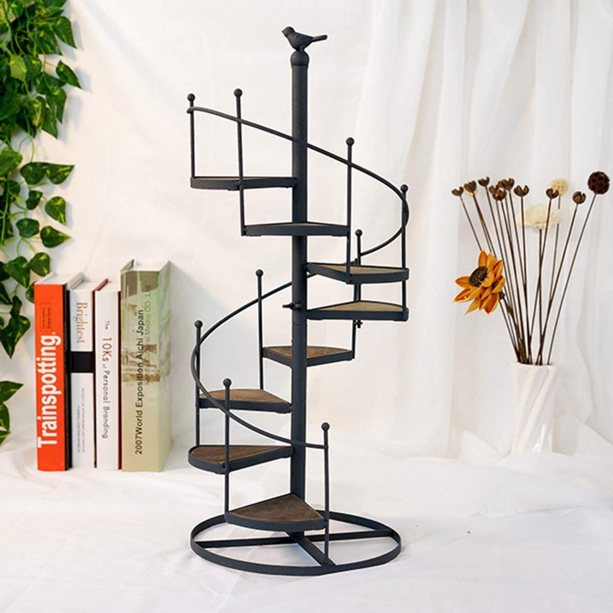 Amazon Com Qij Flower P*T Shelves Iron Black Metal Spiral | Used Outdoor Spiral Staircase For Sale | Trade Assurance | Alibaba | Wrought Iron | Deck | Alibaba Com