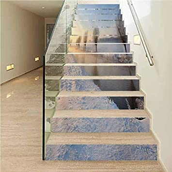 Amazon Com Decorative Stair Riser Decals Peel And Stick Winter | Decorative Outdoor Stair Treads | Stone | Interior | Non Slip | Modern Exterior Stair | Fancy