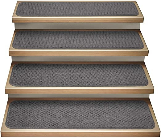 Amazon Com House Home And More Set Of 15 Attachable Indoor   Carpet Stair Treads Amazon   Non Skid   Anti Slip   Beige   Skid Resistant   Tread Rugs
