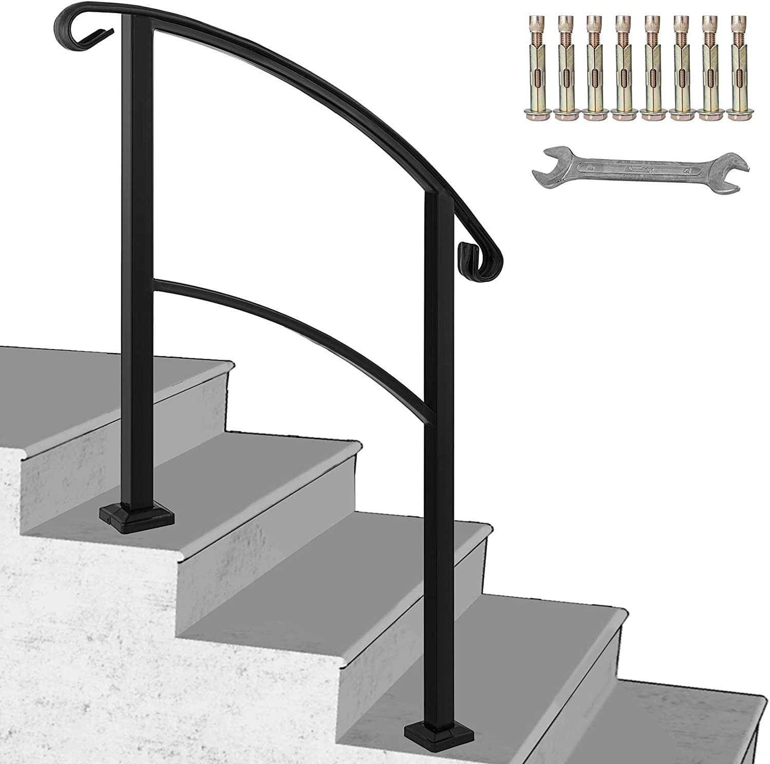 Happybuy 3 Step Transitional Handrail Fits 1 Or 3 Steps Matte | Adding Wood To Wrought Iron Railing | Cedar | Entryway | Rod Iron | Repair | Process Fabrication