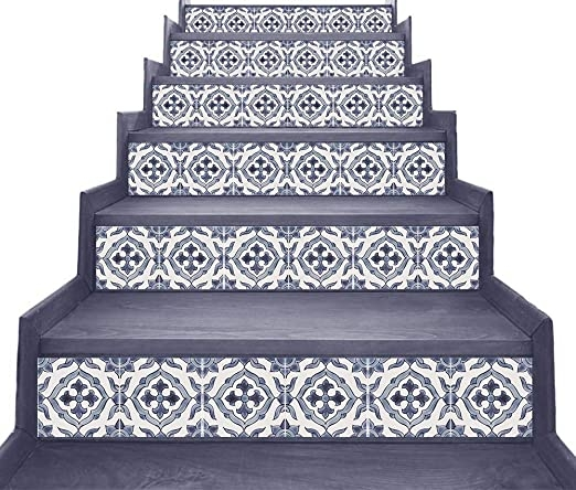 Peel And Stick Stair Riser Decals Moroccan Hand Painted Tiles | Self Stick Stair Treads | Slip Resistant | Modern | Vinyl Covered | Contemporary | Pad