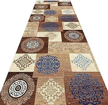 Amazon Com Brown Patchwork Runner Rug Low Pile Carpet For Stairs | Low Pile Carpet For Stairs | Laminate | Unusual | Looped | Antelope | Bedroom