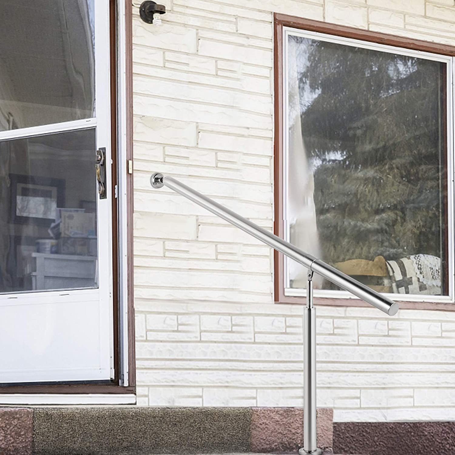 Happybuy Step Handrail Stainless Steel Stair Railing For In And | Outside Stair Railing Installation | Rail | Simple | Staircase | Back Porch | Sunroom