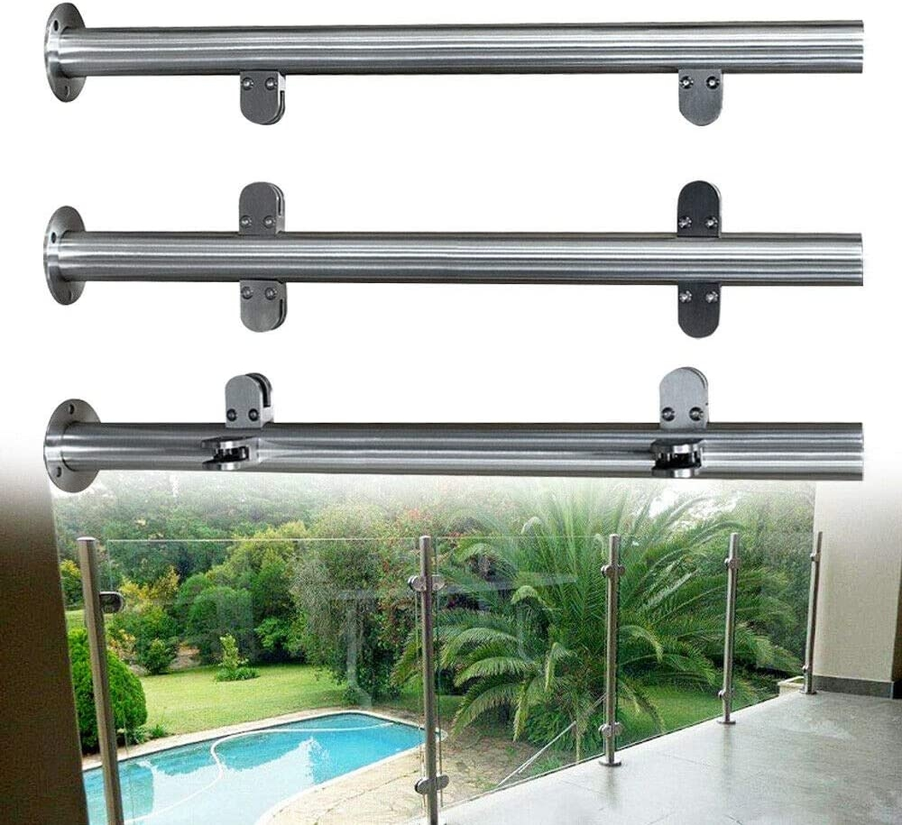 Amazon Com Nopteg 43 Glass Railing Post 304 Stainless Steel | Stair Railing Glass Panel | Tempered Glass | Wood | Stainless Steel Railing Systems | Base Shoe | Aluminum