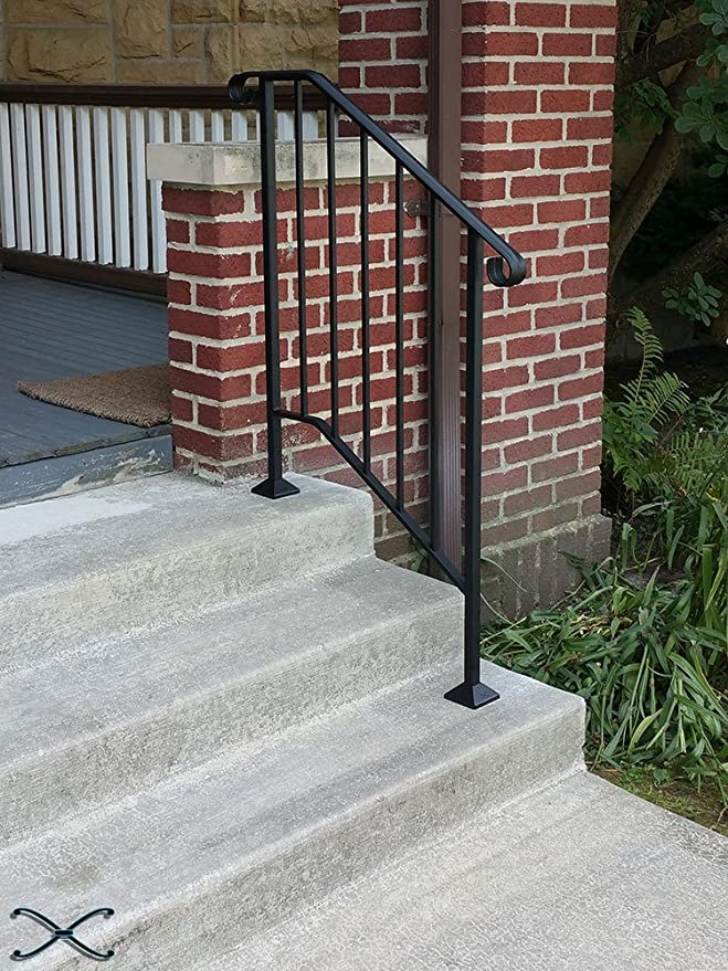 Iron X Handrail Picket 2 No Fasteners Amazon Com   Outside Handrails Home Depot   Hand Rail   Metal   Deck   Deck Railing Systems   Front Porch