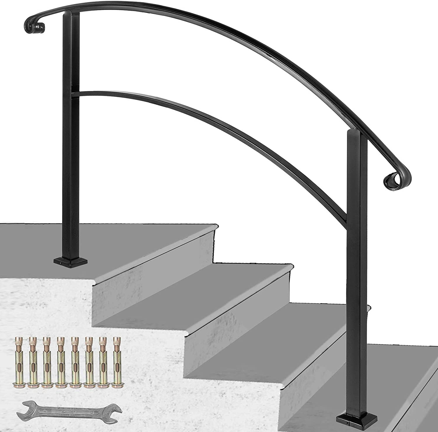 Happybuy 4 Step Handrail Fits 1 Or 4 Steps Matte Black Stair Rail | Wrought Iron Outdoor Handrails | Curved | Vintage Salvaged Outdoor Iron | Aluminum | Modern | Residential