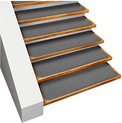 Amazon Com House Home And More Set Of 15 Skid Resistant Carpet | Gray Carpet Stair Treads | Black | Set | Wood | Grey Patterned | Fitting Loop Pile Carpet