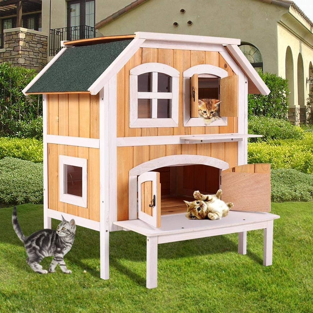Amazon Com Goujxcy Cat House 2 Story Wooden Raised Elevated Cat | 2 Story House With Stairs Outside | Dark Grey | Traditional | Roof Terrace | Unique | Covered Deck