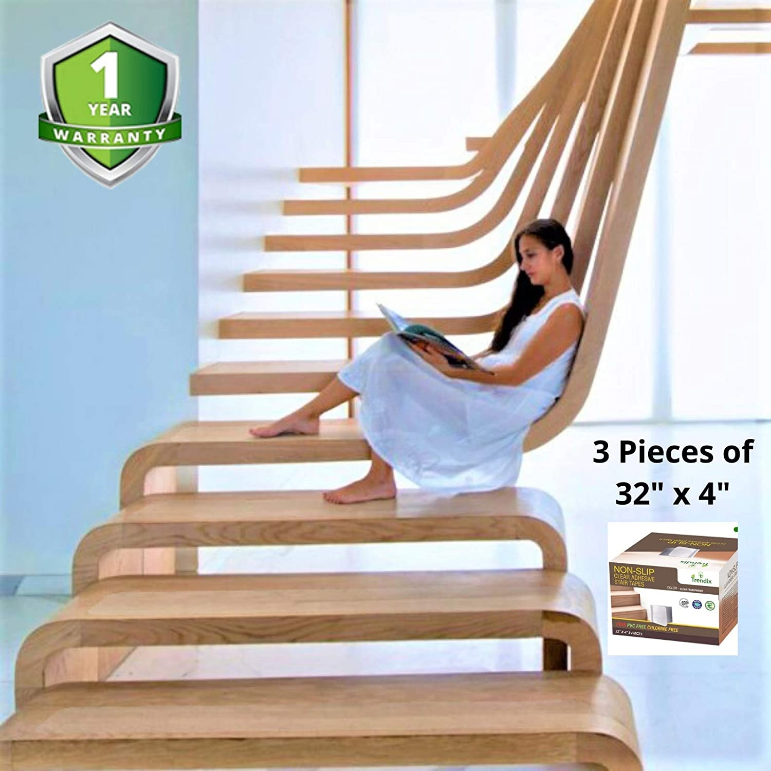 Amazon Com 32 X 4 Stairs Tread Non Slip Tape 3 Pieces 2020   Stairs Made Of Wood   5 Step   Elegant   Solid Oak   Traditional   3 Step