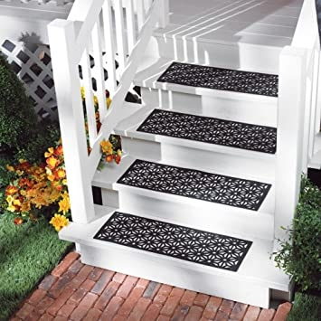 Outdoor Rubber Stair Tread Mats Amazon Com | Amazon Outdoor Stair Treads | Self Adhesive | Non Skid | Rubber Backing | Rubber Stair | Carpet Stair