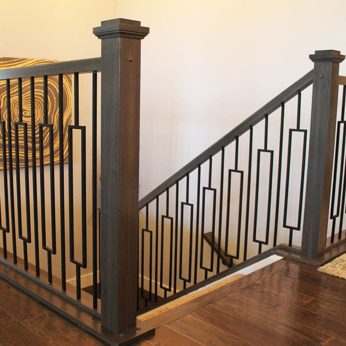 Contemporary Rectangle Stair Wrought Iron Balusters 10 Pack | Banister Rail And Spindles | Component | Interior | Lj Smith | Newel Post | Porch