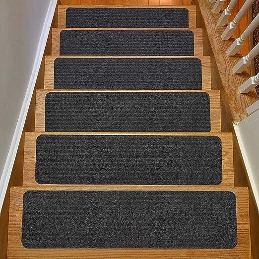 Amazon Com Rugstylesonline Stair Treads Collection Indoor Skid   Dark Grey Carpet Stairs   Fitted   Black   Grey Vinyl Flooring   Dark Brown   Floor