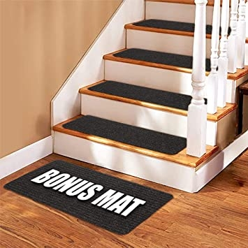Stair Treads Carpet 14 Non Slip Carpet Stair Treads Double   Carpet On Wooden Stairs   Victorian   Combined Wood   Jute   Dark   Hall