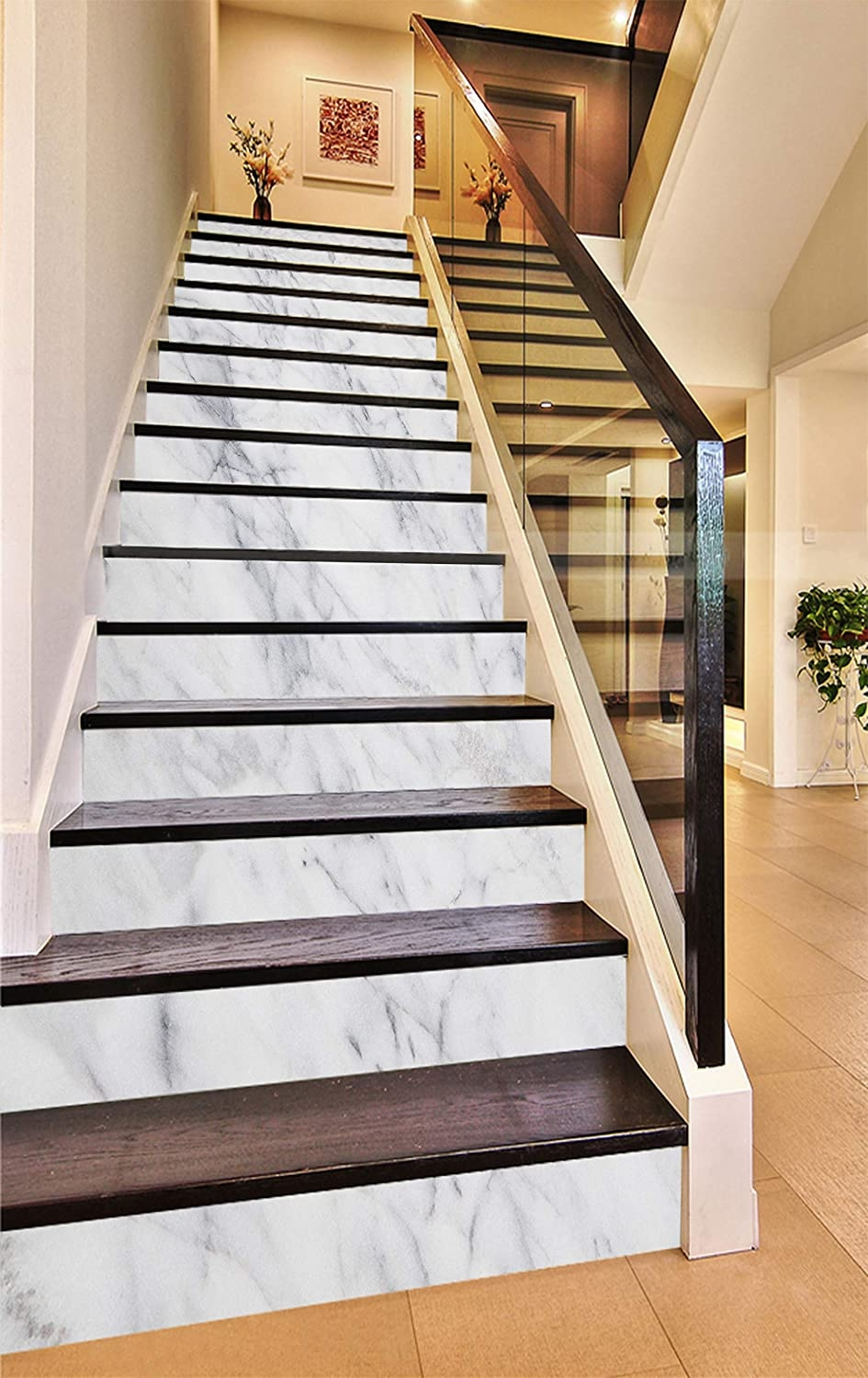 3D Elegant White 937 Pattern Tile Marble Stair Risers Decoration | Wood Look Tile For Stairs | Weathered Wood Distressed | Ceramic | Bedroom | Rocell Living Room | Porcelain