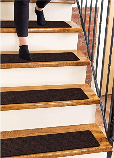 Carpet Stair Treads Non Slip 8 X30 Brown 15 Pack Runners For | Rug Treads For Steps | Creative | Covering | Residential | Oak | Turquoise
