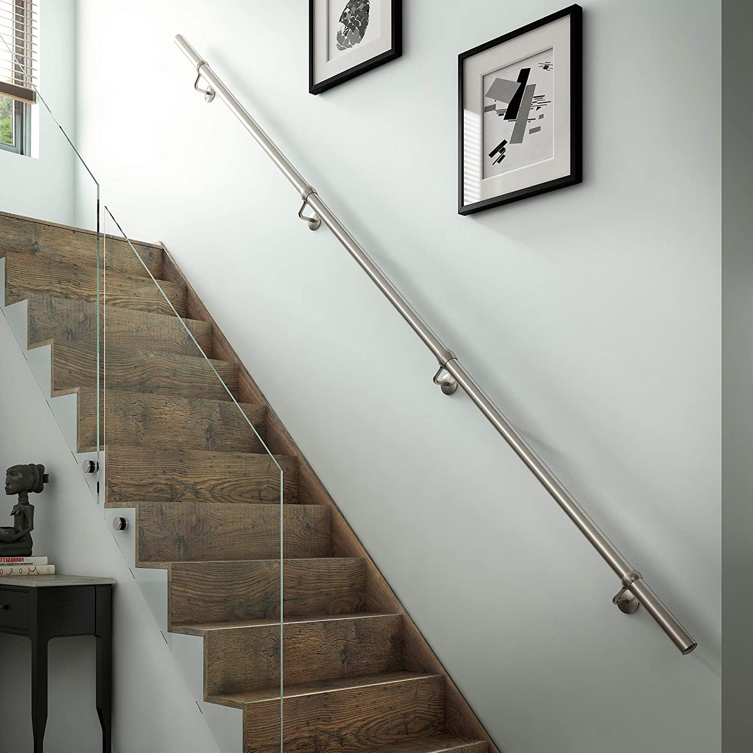 Stairs Staircase Handrail Banister Rail Support Kit 3 6M Satin | Buy Handrails For Stairs | Stair Systems | Wrought Iron Balusters | Wood | Stair Treads | Lj Smith