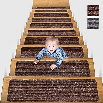 Mbigm 8 X 30 15 In Pack Non Slip Carpet Stair Treads Non Skid   Carpet For Stairs Amazon   Beige   Non Slip   Flooring   Self Adhesive   Carpet Tiles