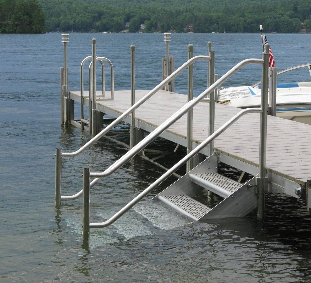 Amazon Com Ortus Enterprises 4 Step Heavy Duty Aluminum Dock | Aluminum Railings For Steps | Verandah | Glass Railing | Pipe | Indoor | Glass Panel Wooden Handrail