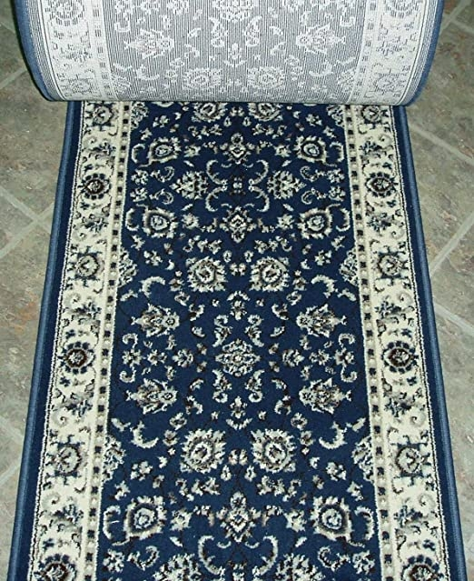 Amazon Com Rug Depot 153462 Alba 1426 Denim Traditional Hall And | Home Depot Hall Runners By The Foot | Persian Rug | Area Rugs | Flooring | Staircase | Rug Runner
